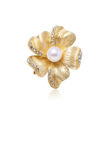 Glamorousky white Elegant and Simple Plated Gold Flower Imitation Pearl Brooch with Cubic Zirconia E5FC4AC5D3F242GS_1