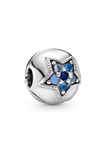PANDORA silver Pandora Bright Blue Star Clip Charm 8EF0BAC9A3B466GS_1