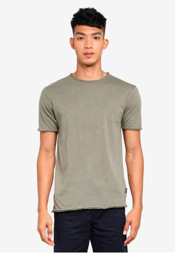 Only & Sons green Albert Washed O-Neck T-Shirt 6053BAAF18670BGS_1