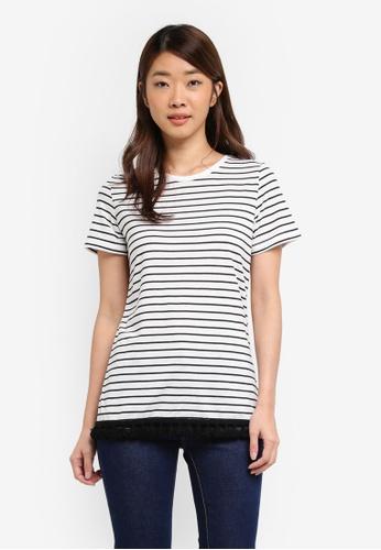 Dorothy Perkins black Black And Ivory Striped Pom Pom T-Shirt 3FA0FAAE23752BGS_1