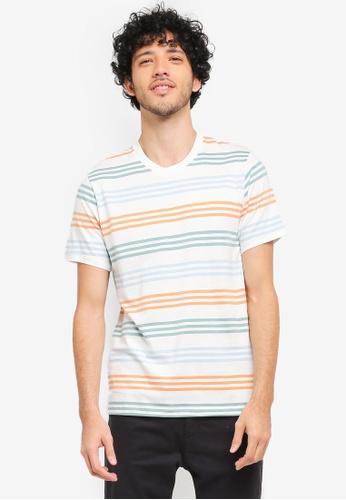 MANGO Man white Striped Cotton T-Shirt MA449AA0T1DZMY_1