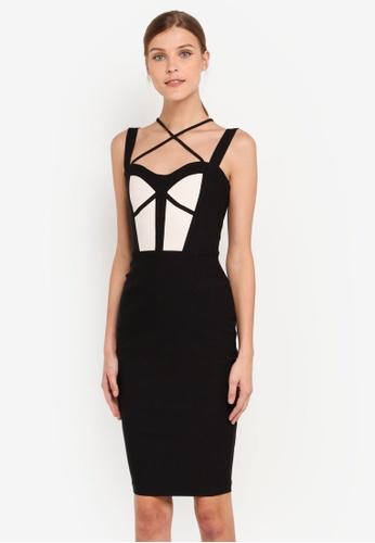 Vesper black Vesper Shona Strap Detail Midi Dress VE733AA0SXA4MY_1