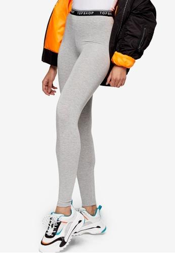TOPSHOP grey Grey Elastic Leggings B3F89AAE2CF0A5GS_1