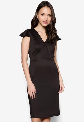 Eva V 領蓋袖修身連身裙, 服飾, zalora taiwan 時尚購物網鞋子洋裝