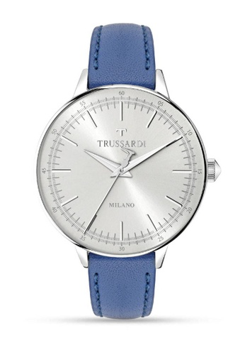 Trussardi blue T-Evolution Quartz Watch R2451120504 Blue Leather Strap 6B779ACC85B58FGS_1