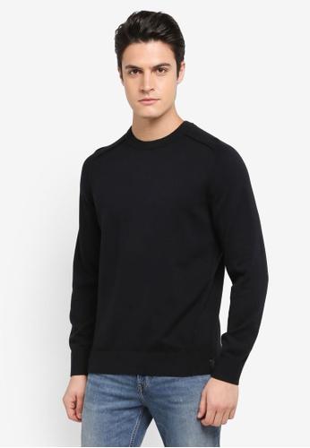 Calvin Klein black Samos 1 Regular Crew Neck Long Sleeve Sweatshirt - Calvin Klein Jeans 572D6AA1AC9AC9GS_1