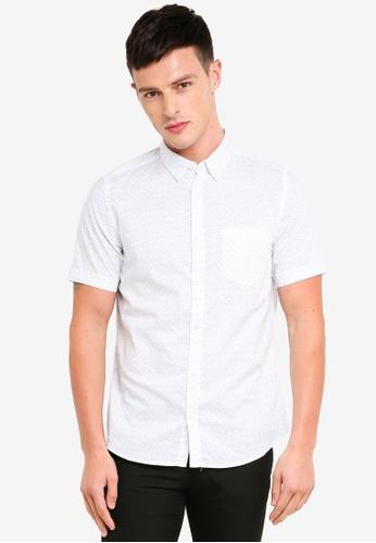 Burton Menswear London 白色 短袖印花襯衫 BD2CBAAB393535GS_1