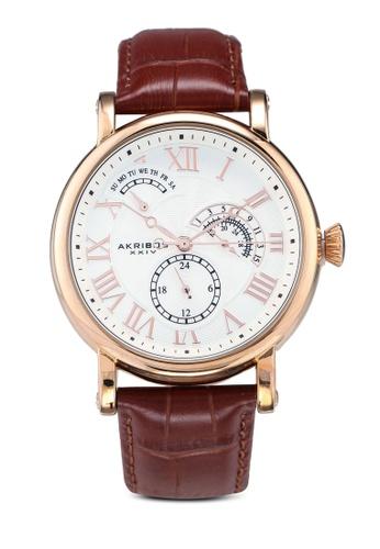 Akribos XXIV brown Date Brown Leather Watch B913BACA694443GS_1
