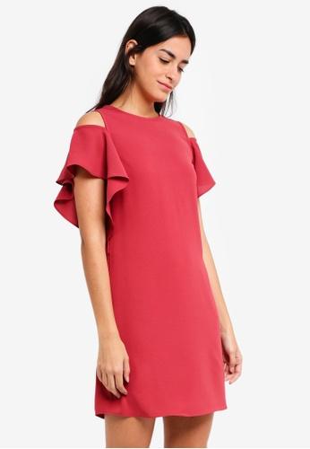 ZALORA pink Cold Shoulder Ruffles Dress 11095AABBD967DGS_1
