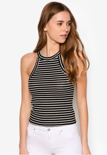 Ellie zalora時尚購物網的koumi koumi高領挖背條紋背心, 服飾, 服飾