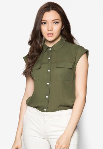Penny zalora 衣服尺寸雙口袋無袖上衣, 服飾, 上衣