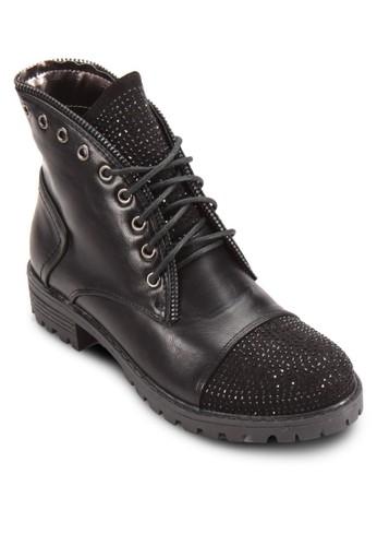 esprit服飾Geronimo 閃石拼接曲線繫帶短靴, 女鞋, 鞋