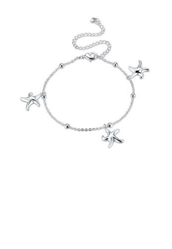 Glamorousky silver Fashion Simple Starfish Anklet BE7E5ACA056561GS_1