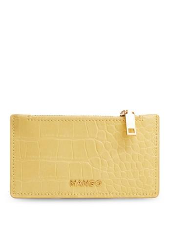 Mango yellow Croc-Effect Card Holder 7AD6DAC768F061GS_1