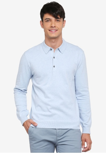 French Connection blue Stretch Cotton Polo Shirt 82E74AAADE2C55GS_1