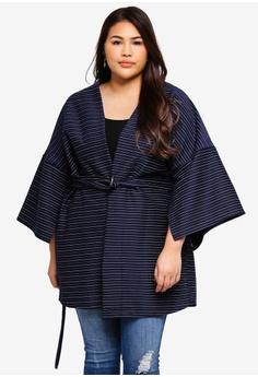 adf45e23d08 ELVI navy Plus Size Fouette Pinstripe Kimono With Split Sleeves  96AB5AADE8FB8DGS 1
