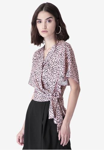 FabAlley pink Pink Leopard Print Side Tie Wrap Shirt 909BDAA92E7542GS_1