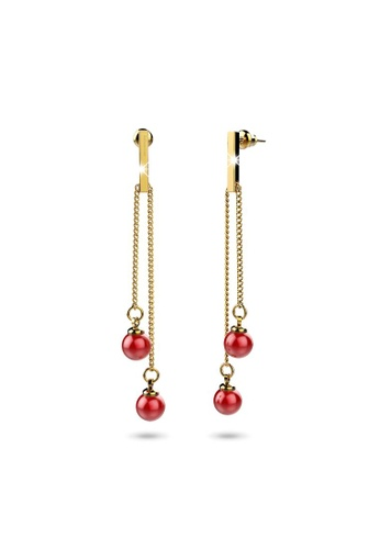 Bullion Gold gold BULLION GOLD Red Dot Dangle Gold Layered Earrings 14631AC3658C40GS_1