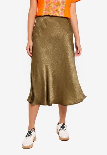 Cotton On green Woven Belle Bias Midi Skirt 71F56AAA1CD70CGS_1