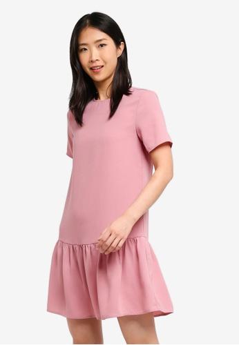 ZALORA BASICS pink Basic Short Sleeves Flare Hem Dress 0F1BFAAABF5355GS_1