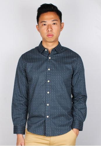 Moley blue Digital Pixel Long Sleeve Shirt 0D994AA26D3D62GS_1