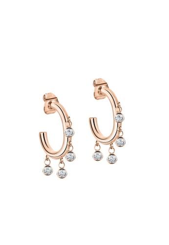 Morellato gold Cerchi Earrings SAKM54 Steel Pvd Rose Gold Crystals 24402AC80F3DEFGS_1