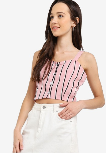 Something Borrowed pink Buttoned Down Crop Top 40BEEAA24D652DGS_1