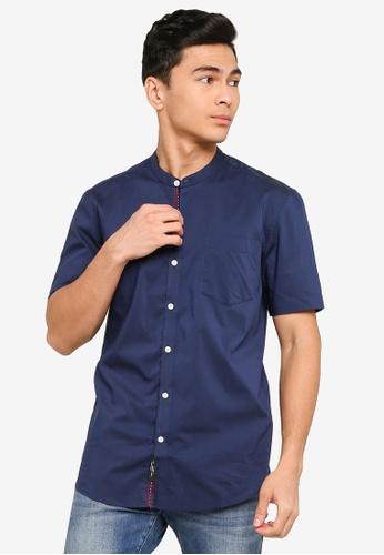 UniqTee navy Mandarin Collar Short Sleeve Shirt 71B09AAD4B3CFFGS_1