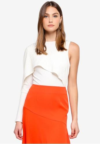 Lavish Alice white Rib Knit Asymmetric Draped Bodysuit 48715AAA2A62EDGS_1