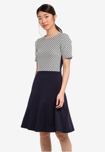 Dorothy Perkins navy Geometric Jacquard Dress ECB3EAA40FAC14GS_1