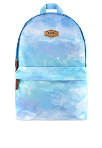 Ripples blue Clouds Watercolour Digital Print Backpack 47D74ACAD6584AGS_1