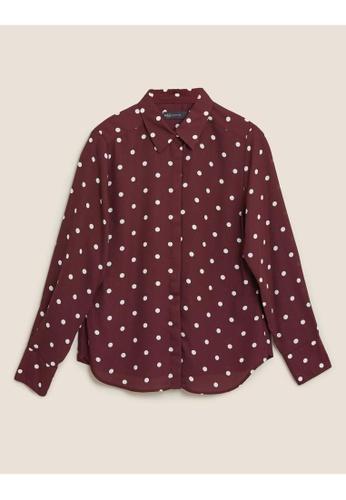 MARKS & SPENCER M&S Polka Dot Long Sleeve Shirt 5E4E7AAF969B9AGS_1