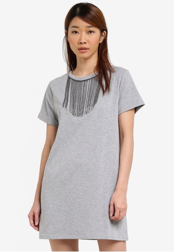 Something Borrowed grey Neckline Embellishment Tee Dress 0CE82ZZ68BE52CGS_1