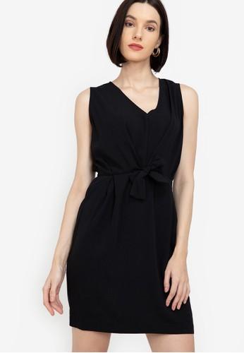 ZALORA WORK black Sleeveless Tie Waist Dress 5D37BAAE5DE231GS_1