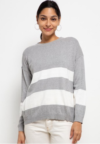 Button On grey Women Oversize Stripes Knit Top A46ACAA919C792GS_1
