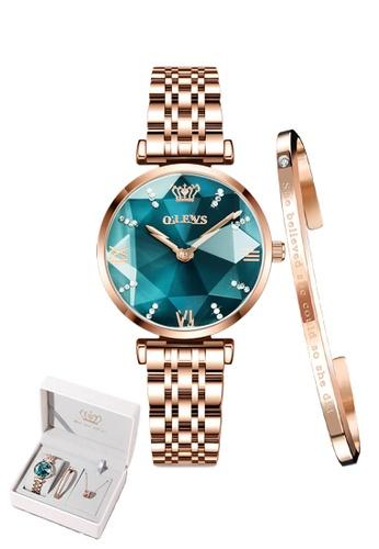 OLEVS green [Valentines Special]  Olevs Eonian Women Quartz Watch & Bracelet Set 20BCCACF1B649FGS_1