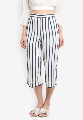 Miss Selfridge white Stripe Culotte Trousers EC508AA0DD5A49GS_1