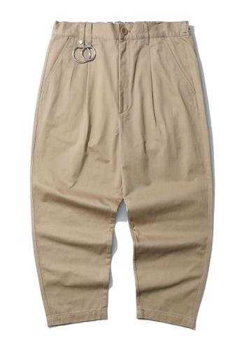 izzue beige Metal ring embellished pants FE020AAC51E0BFGS_1