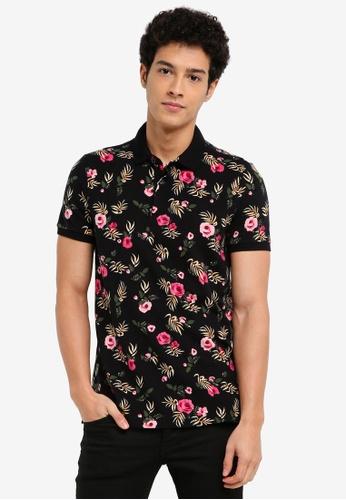 Hollister black Floral Polo Shirt 6C5E2AA27F7D0AGS_1