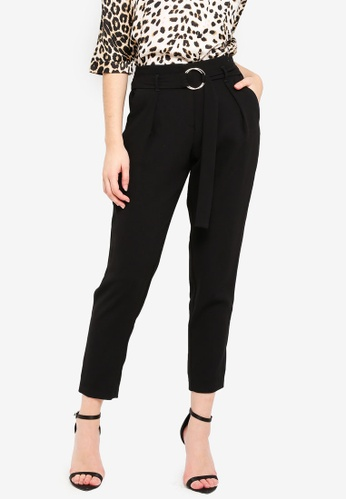 River Island black Carmen Ring Detail Tapered Trousers 203F6AA0DD0D71GS_1