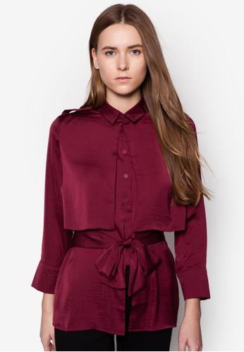 Becklow 層次腰飾長袖襯衫, 服飾,zalora 鞋評價 服飾