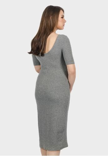 77d2f6084c Buy 9months Grey Low Back Midi Maternity Dress Online