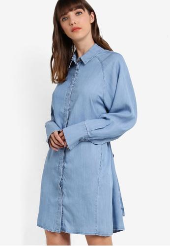 WAREHOUSE blue Batwing Belted Denim Shirt WA653AA71LVCMY_1