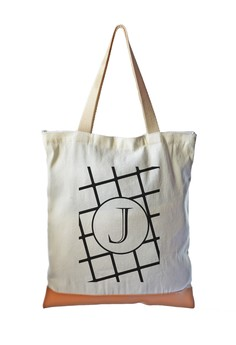 Tote Bag Minimalist Initial J