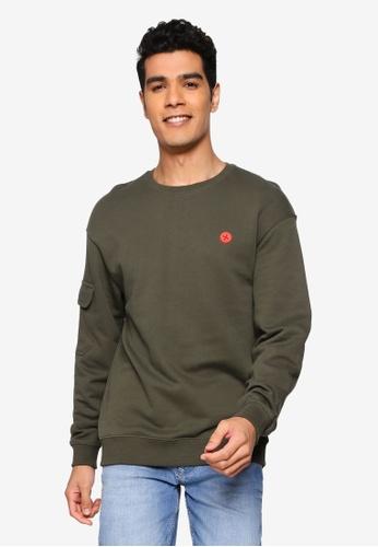 BLEND green Mini Patch Sweatshirt BBD3CAA61F0C36GS_1