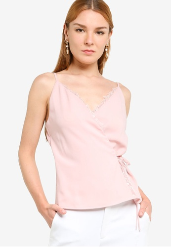 ZALORA OCCASION pink Lace Trimming Wrap Top 8AF56AA117B2CBGS_1