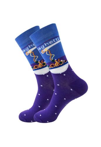 Kings Collection 藍色 意大利面舒適襪子 (歐碼38-歐碼45) HS202302 7C941AA4C85F78GS_1