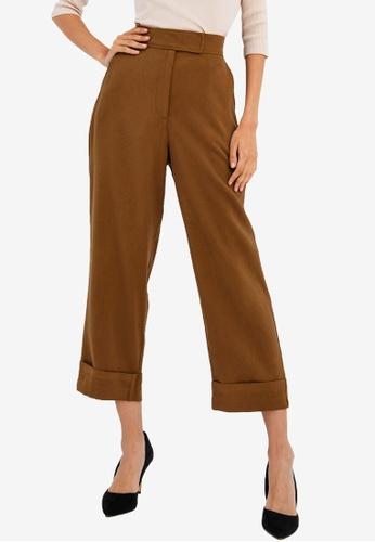 FORCAST brown Ashley Straight Pants 36E1AAA3FFE783GS_1