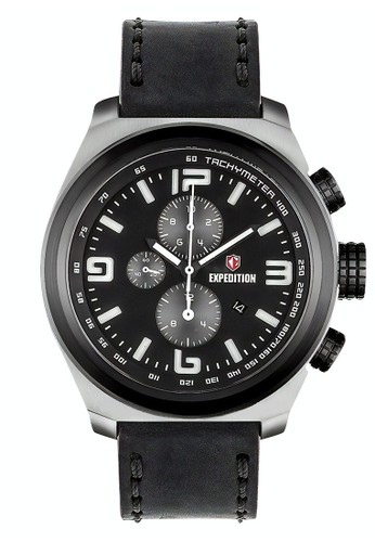 Expedition black Expedition Jam Tangan Pria - Black Silver - Leather Strap - 6356 MCLIPBASL 60BCAAC2B9D8F9GS_1