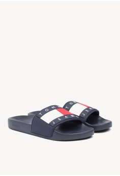 f9589e2063cb3 Tommy Hilfiger black Tommy Jeans Flag Pool Slide 234B2SHF9D574FGS 1